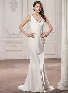 Trumpet mermaid cowl neck sweep train jersey wedding dress for Wedding dresses nj