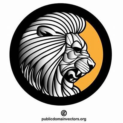 Lion Roaring Vector Crest Clipart Clip Domain