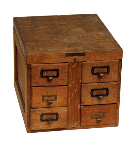 small wooden  drawer card catalog olde good