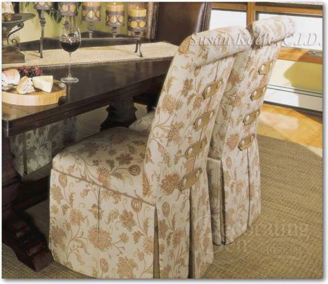 custom upholstered skirted chairs mediterranean dining
