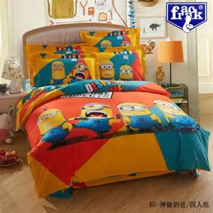 cute despicable minions kids bedding set queen king size comforter sets quilt cover bed sheets