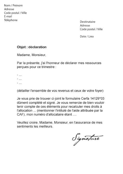 modele attestation de non paiement caf lettre de d 233 claration trimestrielle caf mod 232 le de lettre