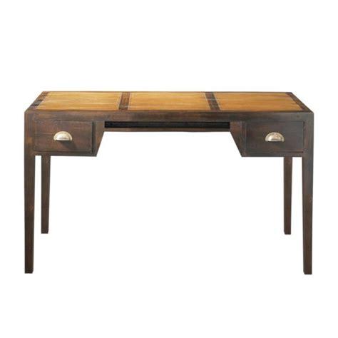bureau maisons du monde stained solid teak desk w 130cm bamboo maisons du monde