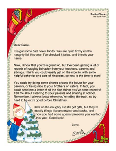 santa letter naughty list