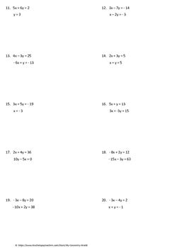 Algebra 1 Worksheet Solving Systems Of Equations Using Substitution