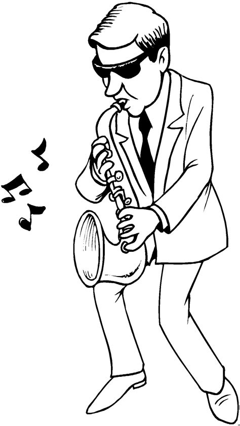 mann saxophon ausmalbild malvorlage musik