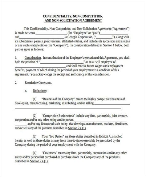 confidentiality and non compete agreement template 10 non compete agreement form sles free sle exle format