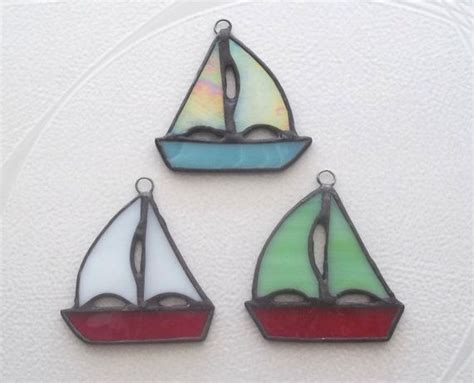 Sailboat Ornament Set Stained Glass Ornaments Or Package