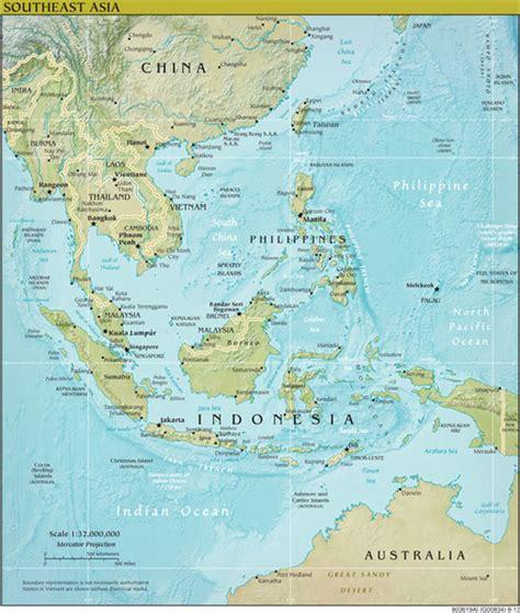 south east asia regional geophysical wall map