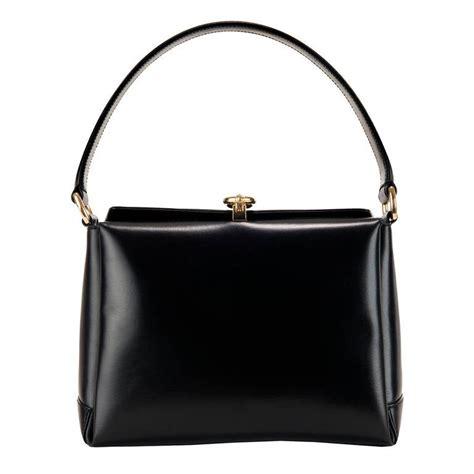 rare vintage gucci black leather handbag  stdibs