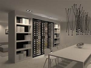 a wine cabinet as separation between dining living room With salle À manger contemporaineavec armoire salle a manger