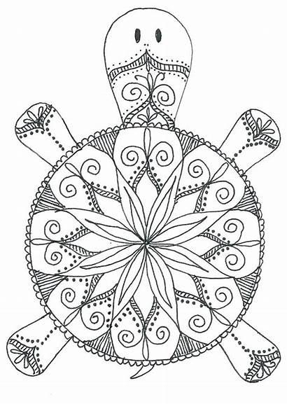 Mandala Coloring Animal Pages Turtle
