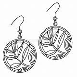 Coloring Earrings Outline Doodle Simple Illustrations Clipart sketch template