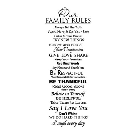classic family rules extended wall quotes decal wallquotescom