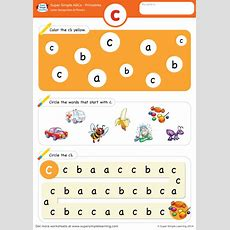 Letter Recognition & Phonics Worksheet  C (lowercase)  Super Simple