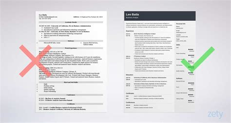 business analyst resume sample  skills  format