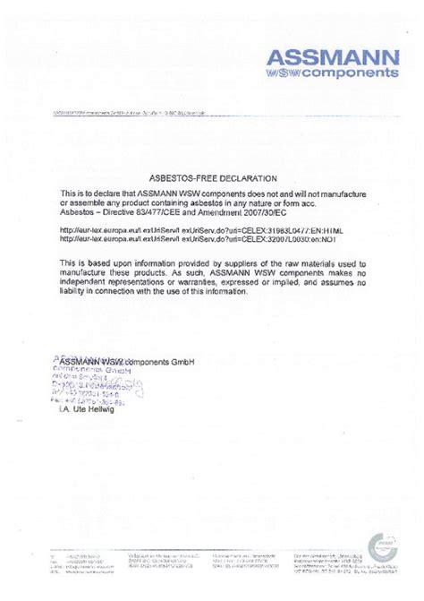 asbestos  declaration