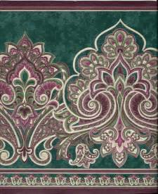 VICTORIAN PAISLEY, GREEN AND BURGUNDY WALLPAPER BORDER