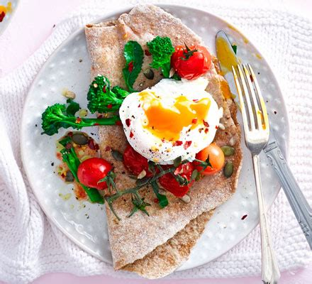 poached eggs  broccoli tomatoes wholemeal flatbread