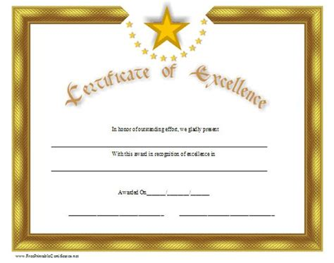 gold certificate  excellence  distinctive stars