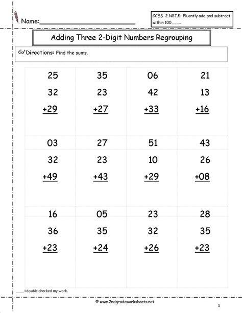 2nd grade math worksheet 2 digit addition with regrouping two digit addition worksheet satta addition worksheets