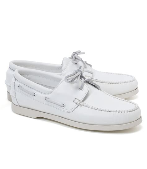 White Boat Shoes by Brooks Brothers Leather Boat Shoes In White For Men Lyst