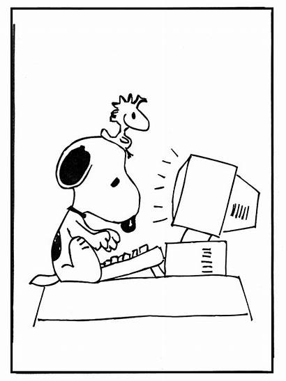 Computer Snoopy Drawing Playing Coloring Getdrawings