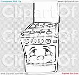 Oven Stove Clipart Outlined Gas Range Character Illustration Dero Vector Royalty sketch template