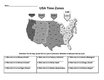 time zone worksheet usa middle school social studies tpt
