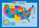 USA Map for Kids - Laminated - United States Wall Chart ...