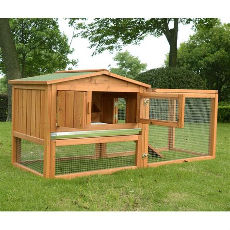 a rabbit hutch pawhut wooden small animal house rabbit hutch bunny cage w