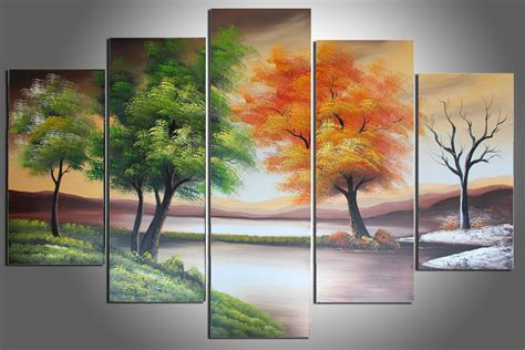 4 Hands Home Decor : 100% Hand Painted Four Seasons Trees Abstract Oil Painting