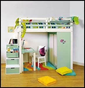 Lit En Hauteur Enfant : lit mezzanine enfant avec bureau et rangements int gr s ~ Preciouscoupons.com Idées de Décoration