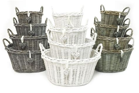 shabby chic storage baskets white grey shabby chic wicker kitchen fruit oval storage baskets xmas her basket topfurnishing