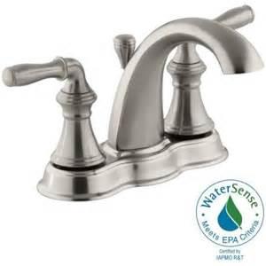 kohler devonshire 4 in centerset 2 handle mid arc bathroom faucet in vibrant brushed nickel