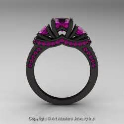 black engagement rings 14k black gold three amethyst wedding ring engagement ring r182 14kbgam