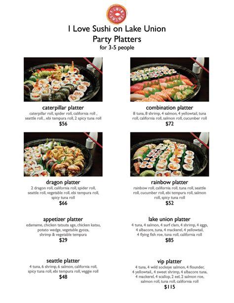 sushi fan cafe menu party platters seattle japanese restaurant