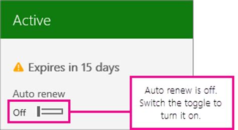 Office 365 Renewal by Subscription Screenshot Showing The Auto Renew Toggle