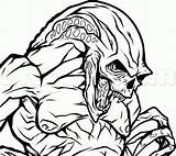 Alien Draw Creepy Newborn Step Coloring Predator Pages Vs Drawing Printable Aliens Coloringonly Categories Lineart Version sketch template