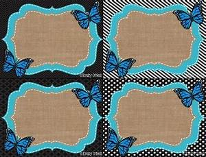 Name Tags Butterfly Blue Black Burlap Theme By Emily