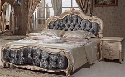 louis xv caned hand painted wooden bed    bed