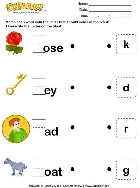 match  missing letter  complete  word worksheet