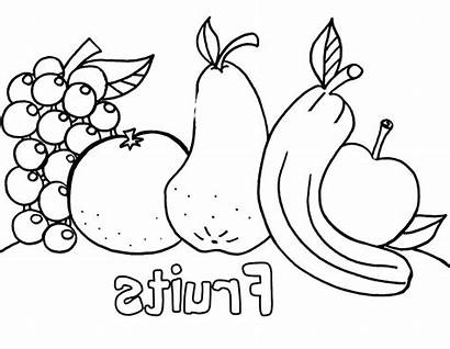 Coloring Fruit Fruits Pages Vegetables Fresh Drawing
