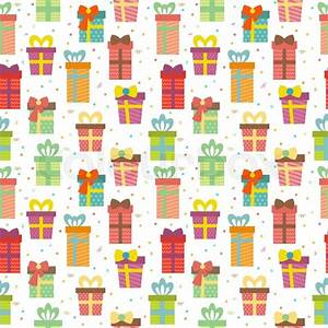 Seamless pattern with gift boxes Cute Birthday presents