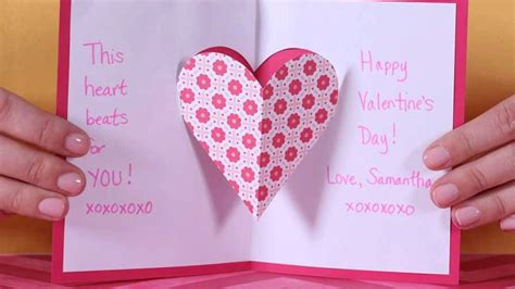 valentines day heart pop  card parents