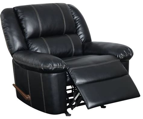 rocker recliner in black bonded leather rocking chairs