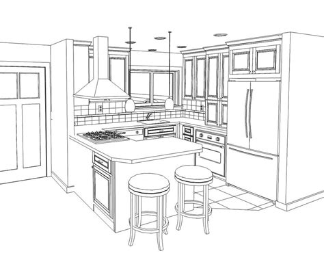kitchen layout drawing line drawing of a small kitchen remodel in willow glen yelp Peninsula