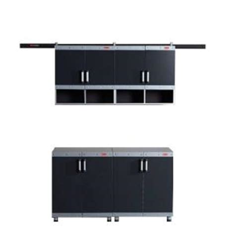 Rubbermaid Storage Cabinets Home Depot by Rubbermaid Fasttrack Garage Laminate 4 Cabinet Set