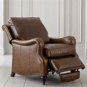 Front Wood Leg Recliner Chair In Brown Leather