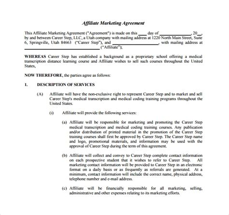 sample marketing agreement templates   ms